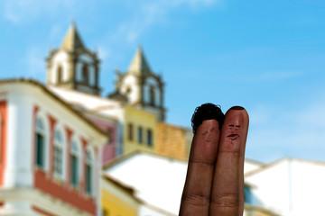 Cute couple finger in Salvador, Bahia, Brazil.