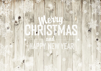 Merry Christmas Greeting On Wooden Fence Texture