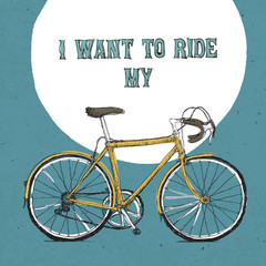Retro bicycle illustration, hand drawn. Vector