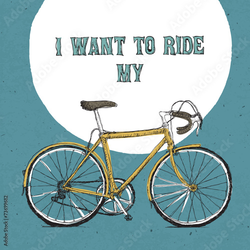 Retro bicycle illustration, hand drawn. Vector © pashabo