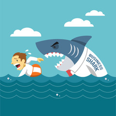 Business shark. Vector flat illustration