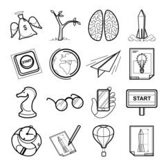 Startup vector black icon set