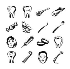 Stomatology black icon set