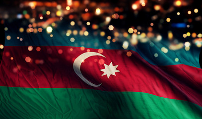 Azerbaijan National Flag Light Night Bokeh Abstract Background