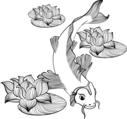 Koi fish with three flowers