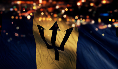 Barbados National Flag Light Night Bokeh Abstract Background
