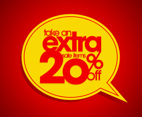Take an extra 20% off speech bubble.