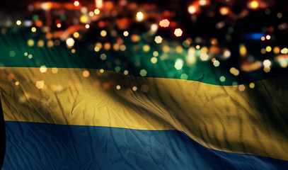 Gabon National Flag Light Night Bokeh Abstract Background