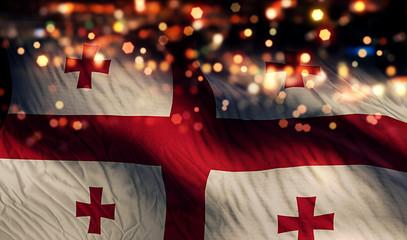 Georgia National Flag Light Night Bokeh Abstract Background