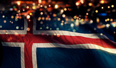 Iceland National Flag Light Night Bokeh Abstract Background