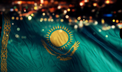Kazakhstan National Flag Light Night Bokeh Abstract Background