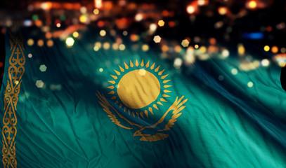 Kazakhstan National Flag Light Night Bokeh Abstract Background