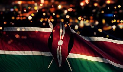 Kenya National Flag Light Night Bokeh Abstract Background