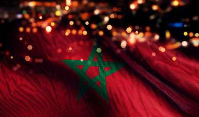Morocco National Flag Light Night Bokeh Abstract Background