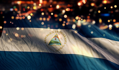 Nicaragua National Flag Light Night Bokeh Abstract Background