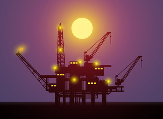 oil platform night