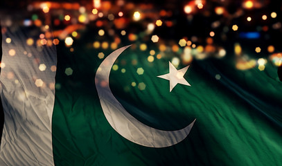 Pakistan National Flag Light Night Bokeh Abstract Background
