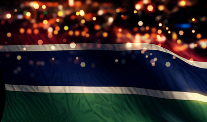 Gambia National Flag Light Night Bokeh Abstract Background
