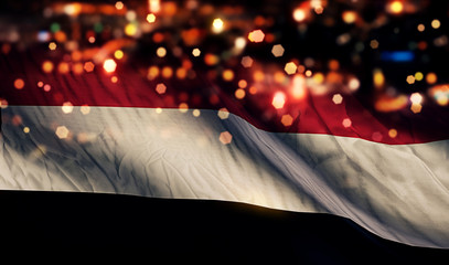 Yemen National Flag Light Night Bokeh Abstract Background