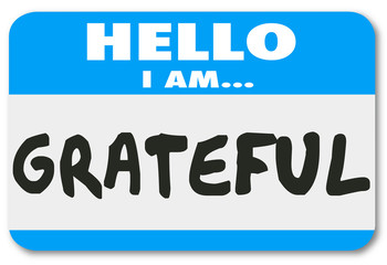 Grateful Word Hello I Am Words Name Tag Sticker