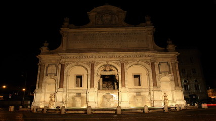 acqua Paola fountain at night in Rome, Italy