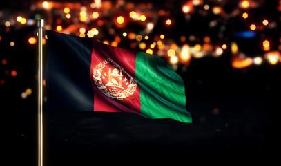 Afghanistan National Flag City Light Night Bokeh Background 3D