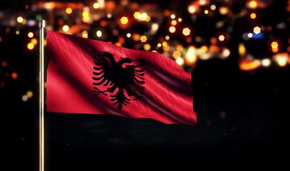 Albania National Flag City Light Night Bokeh Background 3D