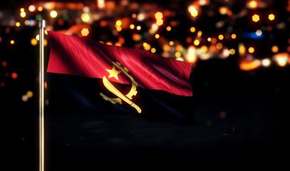 Angola National Flag City Light Night Bokeh Background 3D