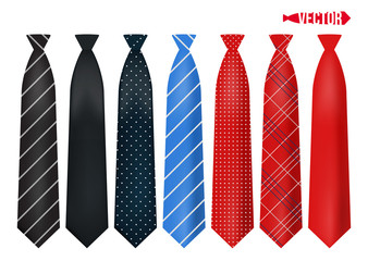 Set realistic colorful neckties.