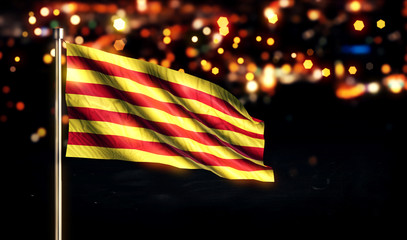 Catalonia National Flag City Light Night Bokeh Background 3D