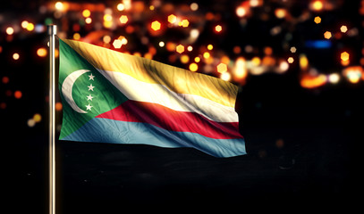 Comoros National Flag City Light Night Bokeh Background 3D