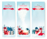 Fototapety Three Christmas banners with presents. Vector.