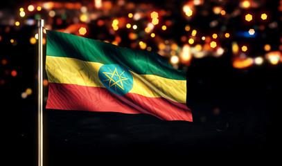 Ethiopia National Flag City Light Night Bokeh Background 3D