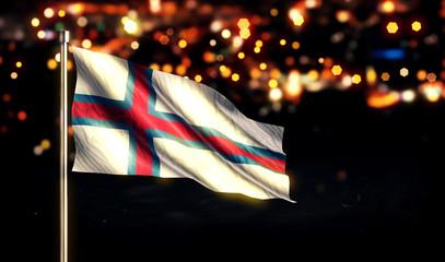 Faroe Islands National Flag City Light Night Bokeh Background 3D