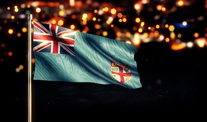 Fiji National Flag City Light Night Bokeh Background 3D