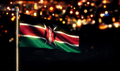 Kenya National Flag City Light Night Bokeh Background 3D