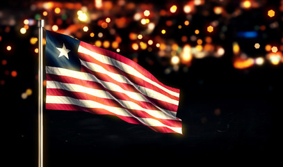 Liberia National Flag City Light Night Bokeh Background 3D
