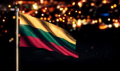 Lithuania National Flag City Light Night Bokeh Background 3D