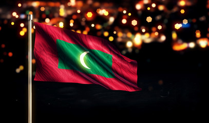 Maldives National Flag City Light Night Bokeh Background 3D