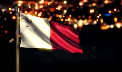 Malta National Flag City Light Night Bokeh Background 3D