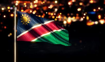 Namibia National Flag City Light Night Bokeh Background 3D