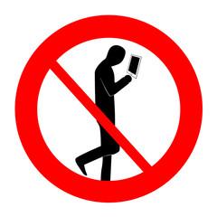 禁止マーク 歩きスマートフォン