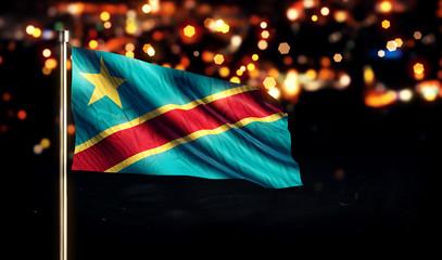 Democratic Republic of the Congo Flag City Light Night Bokeh 3D