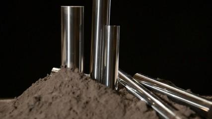 steel bars rotating over black background