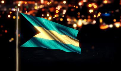 Bahamas National Flag City Light Night Bokeh Background 3D