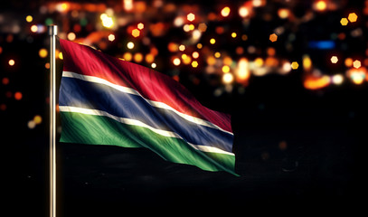 Gambia National Flag City Light Night Bokeh Background 3D