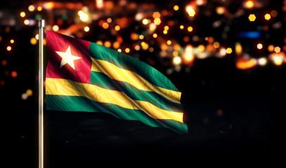 Togo National Flag City Light Night Bokeh Background 3D