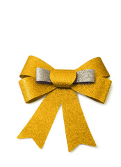 Gold and bronze ribbon isolated on white, clipping path.