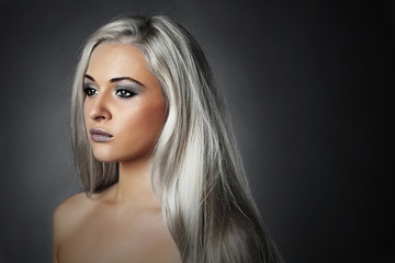 beautiful young woman with silver hair.girl.Beauty salon