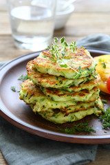 fried fritters of shredded courgette